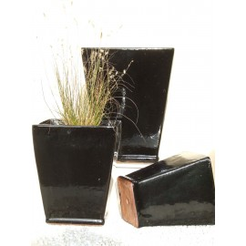 Black Flared Square Pots